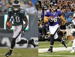 Jeremy Maclin, #18 of the Philadelphia Eagles, and Dennis Pitta, #88 of the Baltimore Ravens, have both suffered season-ending injuries.