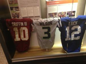 Rookie QBs Robert Griffin III, Russell Wilson and Andrew Luck's game-worn jerseys